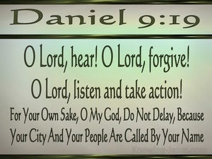 Daniel 9:19 For Your Own Sake Do Not Delay (green)
