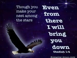 Obadiah 1:4 Though You Soar Like An Eagle Your Will Be brought Down (blue)