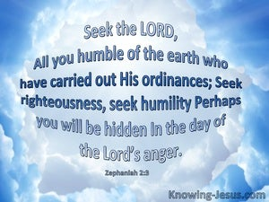Zephaniah 2:3 Seek The Lord All You Humble (blue)