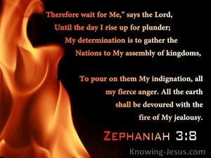 Zephaniah 3:8 The Earth Shall Be Devoured With The Fire Of My Jealousy (black)