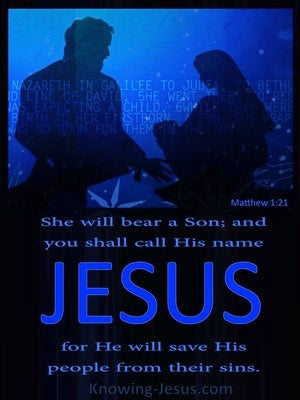 Matthew 1:21 You Shall Call His Name Jesus blue