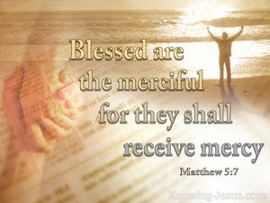 Matthew 5:7 Blessed Are The Merciful beige