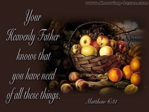 Matthew 6:31 Your Father Knows You Have Need (brown)