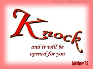 Matthew 7:7  Knock And The Door Will Be Opened (red)