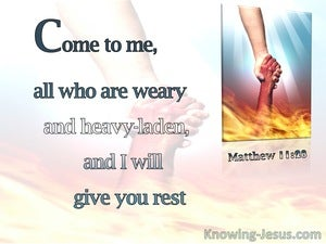 Matthew 11:28 Come Unto Me (pink)