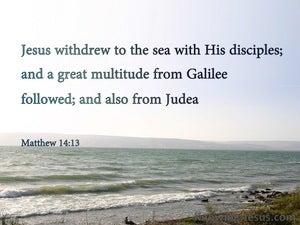 Matthew 14:13 Jesus Withdrew WIth His Disciples (blue)