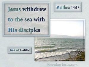 Matthew 14:13 Jesus Withdrew WIth His Disciples (gray)