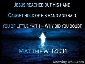 Matthew 14:31 You Of Little Faith Why Did You Doubt (blue)