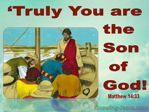Matthew 14:33 Those In The Boat Worshipped Him (red)