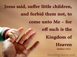 Matthew 19:14 Suffer Little Children To Come Unto Me (brown)