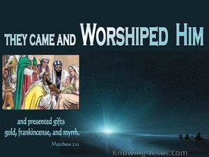 Matthew 2:11 They Came And Worshipped Him (blue)