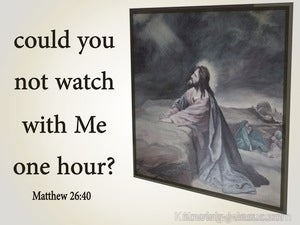 Matthew 26:40 Could You Not Watch With Me One Hour (gray)
