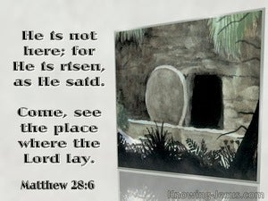 Matthew 28:6 He Is Risen Come See The Place Where The Lord Lay (gray)