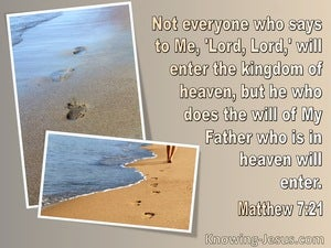 Matthew 7:21 Kingdom Of Heaven : He Who Does he Father's Will (beige)