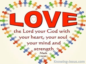 Mark 12:30 reference Love The Lord With Heart Soul, Mind and Strength (red)