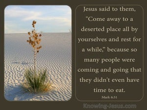 Mark 6:31 Come Ye Yourselves Apart Into A Desert Place And Rest (brown)