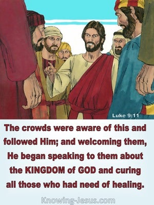 Luke 9:11 The Crowds Followed Jesus (red)