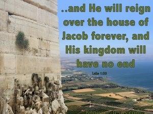 Luke 1:33 He Will Reign Over The House Of Jacob Forever (green)