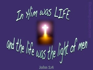 John 1:4 In Him Was Life purple