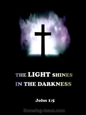 John 1:5 The LIGHT Shines In The Darkness purple