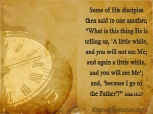 John 16:17 A Little While And You Will Not See Me beige