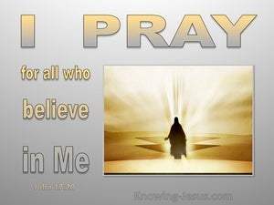 John 17:20 Jesus Prays For All Who Will Believe In Him gray