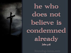 John 3:18 He That Believes Is Not Condemned red