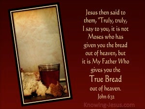 John 6:32 My Father Gives The True Bread From Heaven (brown)
