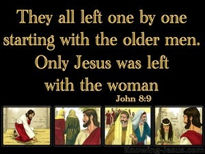 John 8:9 Only Jesus Was Left With The Woman black