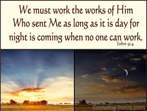 John 9:4 The Works Of Him Who Sent Me (beige)