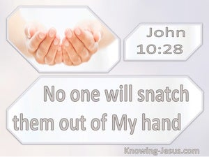 John 10:28  No One Will Snatch Them From My Hand (white)