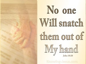 John 10:28 No One Will Snatch Them Out Of My Hand (beige)