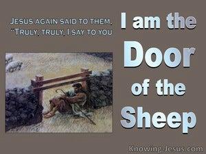 John 10:7 Jesus Said I Am The Door Of The Sheep (blue)