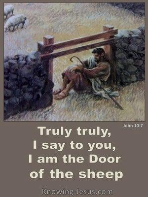 John 10:7 Jesus Said I Am The Door Of The Sheep (brown)