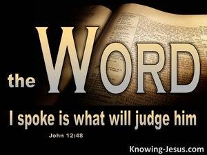 John 12:48 The Word I Spoke Judges Him (beige)