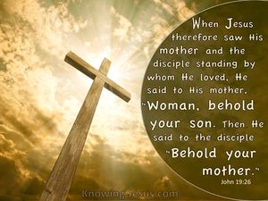 John 19:26 Woman Behold Your Son (beige)