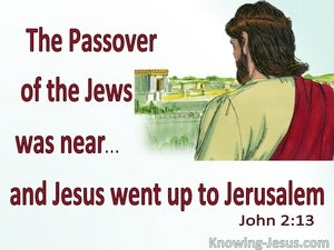 John 2:13 Passover Was Near Jesus Went To Jerusalem (red)