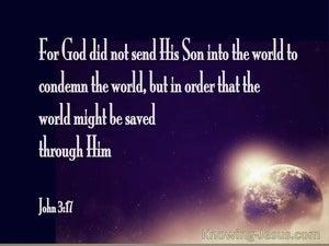 John 3:17 God Sent His Son Into The World (black)
