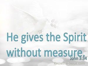 John 3:34 He Gives The Spirit Without Measure (aqua)