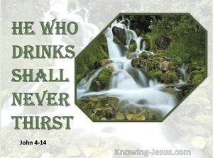 John 4:14 He Who Drinks Will Never Thirst Again (green)