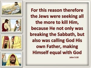 John 5:18 They Sought All The More To Kill Him (beige)