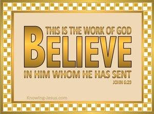 John 6:29 Believe (beige)