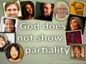 Acts 10:34 God Does Not Show Partiality (green)