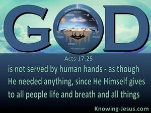 Acts 17:25 God Is Not Served By Human Hands (aqua)