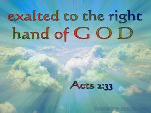 Acts 2:33 Exaulted To The Right Hand Of God red