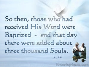 Acts 2:41 They Received His Word And Were Baptised  blue