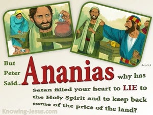 Acts 5:3 Ananian Why Did You Lie To The Holy Spirit green