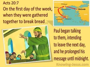 Acts 20:7 Paul Talked To Them Until Midnight (yellow)