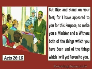 Acts 26:16  I Appeared For This Purpose To Make You A Minister And A Witness (red)