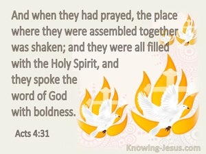 Acts 4:31 They Were All Filled With The Holy Spirit (cream)